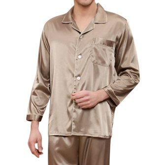 Mens Imitation Silk Smooth Loose Pajamas Set Casual Home Loungewear