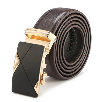 Men Belt Second Floor Cowhide Alloy Automatic Business Buckle Pants Strip Length Randomly