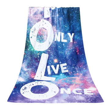 70x140cm Polyester Fiber Galaxy YOLO Pattern Bath Beach Towel Soft Reactive Print Washcloth
