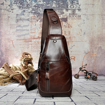 Men Genuine Leather Business Crossbody Bag Vintage Chest Bag