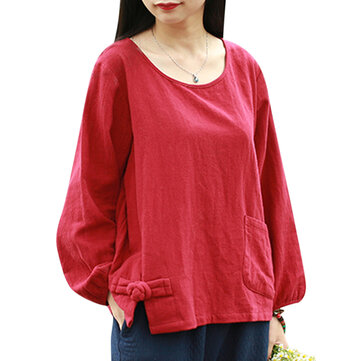Loose Women Pure Color Long Sleeve Pocket Cotton Pullover Blouse