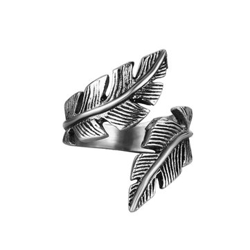 Fashion Stainless Steel Men Ring Feather Shape Adjustable Finger Ring Wholesale for Men