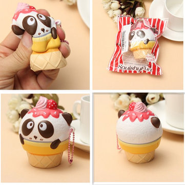 Squishy Fun Cute Panda Cream Super Slow Rising Squishy Original Packing Ball Chain Kid Toy
