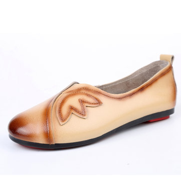 Women Soft Casual Flat Loafers Shoes In Leather