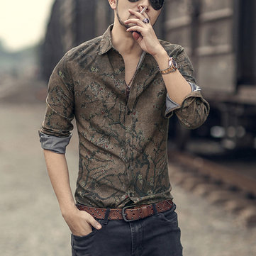 Men England Casual Printed Slim Shirts