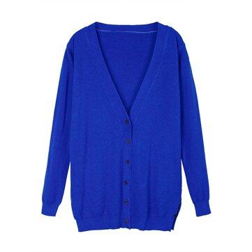 Women Cardigan Long Sleeve Pure Color Slim Long Sweater