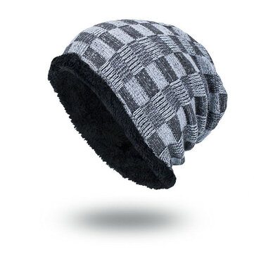 Mens Grids Outdoor Knitted Plus Velvet Lining Beanie Hats Casual Warm Adjustable Caps