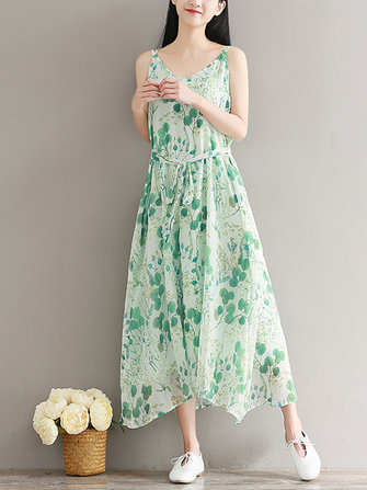 Casual Women Loose Floral Print Sleeveless Dress