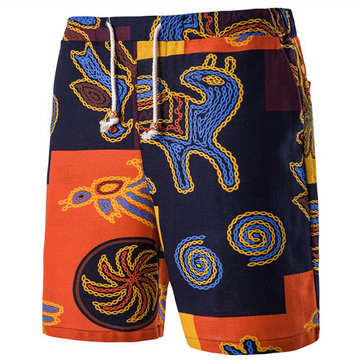 Ethnic Style Mens Loose Color-Mixing Knee-Length Beach Shorts with Drawstring