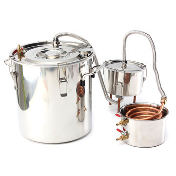 8 GAL/30L Copper Moonshine Ethanol Alcohol Water Distiller Stainless Boiler Kitchen Brewing Wine Making Tools