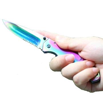 HARNDSCK-6014Титановыйлезвие Colorful Карманный нож На открытом воздухе Тактический нож Кемпинг Рыбалка Ножи
