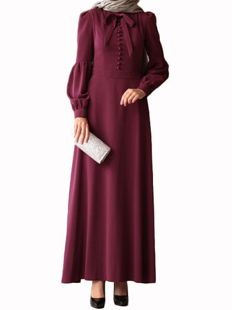 Solid Color Casual Kaftan Long Maxi Dress