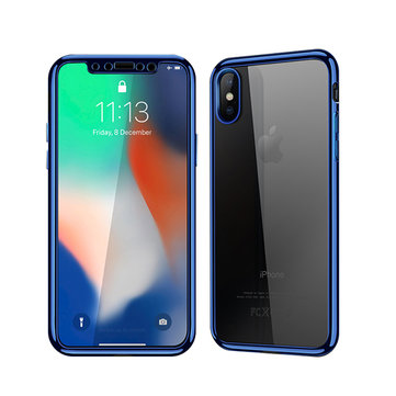 Bakeey Plating Full Body Front & Back Soft TPU Case With Tempered Glass Film For iPhone X