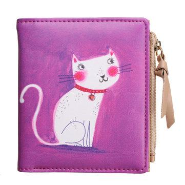 Women Graffiti Printed Short Wallet Girls 3D Animals Cat Purse Card Holder Coin Bags