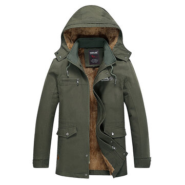 Mens Winter Thick Multi Pocket Outdoor Cotton Hooded Jacket