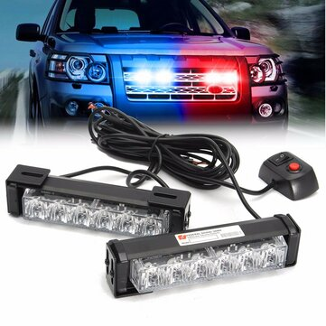 2 in 1 LED Strobe Lights Front Grille Flashlight Warning Lamp 6W for DC 12V SUV Car Truck Off Road