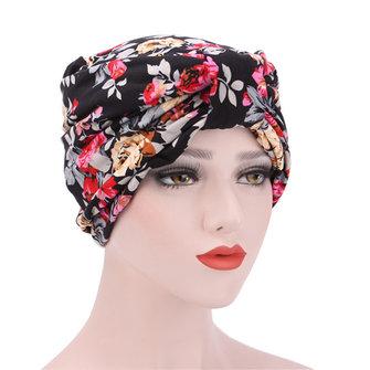 Women Flower Print Cotton Beanies Hats Casual Outdoor Windproof Bonnet Warm Cap