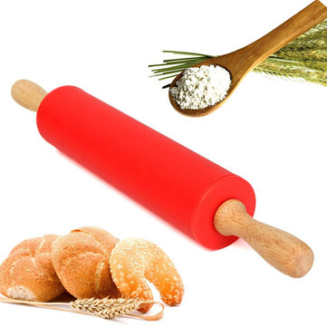 12 Inch 30CM Wooden Rolling Pin Silicone Rolling Pastry Dough Flour Bread Kitchen Bakeware Tool