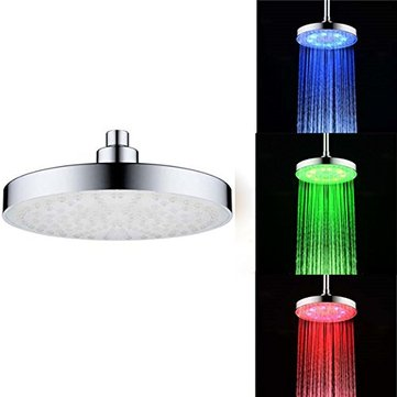 8 inch LED Temperature Control Rainfall Shower Head Water Plating Finished Wall Mount Round Shower Head