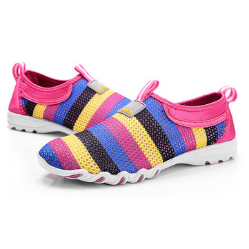 US Size 5-13 Women Shoes Mesh Breathable Soft Casual Slip On Low Top Fashion Sport Shoes