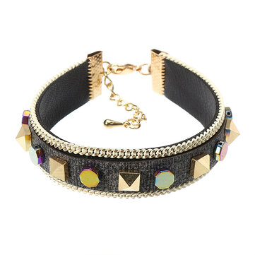 Bohemian Bracelet Punk Rivet Gold Plated Colorful Coin Leather Bracelet Bangle Fashion for Women