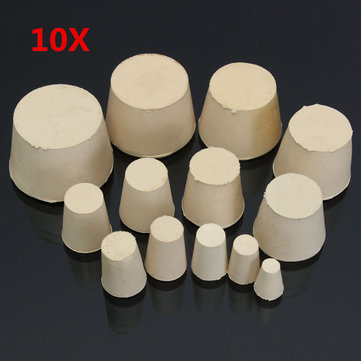 10Pcs Laboratory Tapered Rubber Plug Stopper Flask Test Tube Bungs Solid White 13 Sizes