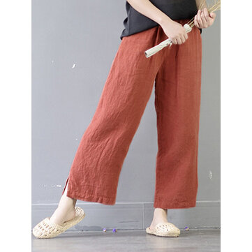 Casual Women Elastic Waist Pockets Cotton Wide Leg Pants