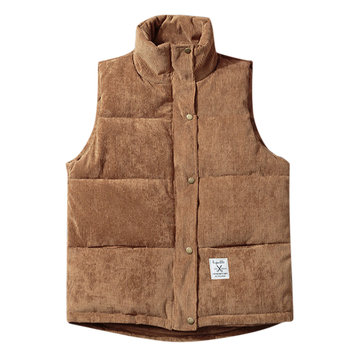 Mens Trendy Corduroy Stand Collar Winter Thick Warm Vest Sleeveless Coat