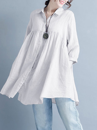 Women Casual Buttons Down 3/4 Sleeve Tops Mini Shirt Dress