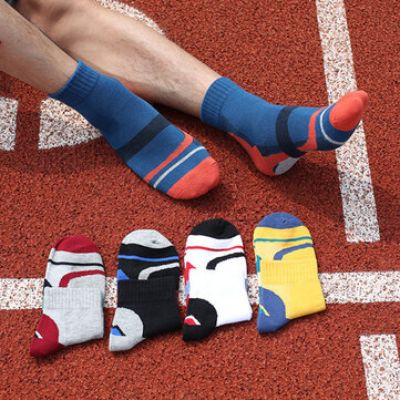 Mens Striped Cotton Sweat Sport Socks Comfortable Middle Tube Breathable Basketball Socks