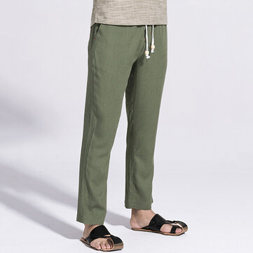 Printemps Été Hommes Loose Cotton Linen Pantalons Casual Loose Style Straight Linen Trousers