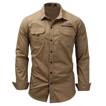 Mens Cotton Casual Pure Color Double Pocket Long Sleeve Casual Shirt