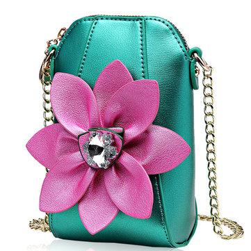 6 بوصة الهاتف الخليوي بو الجلود المرأة الوطنية نمط الزهور حقيبة كروسبودي الكتف حقيبة