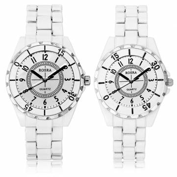 SWIDU SWI-031 Stainless Steel Withe Band Couples Watch