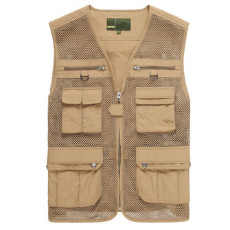 Mens Multifunctional Outdooors Fishing Vest Breathable Quick Dry Mesh Tactical Sleeveless