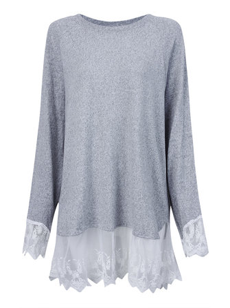 Loose Women Faux Two-piece Lace Patchwork Long Sleeve Pullover Sweater