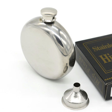 5oz Mirror Glossy Jug Stainless Steel Round Whiskey Flask Portable Alcohol Hip Flask Wine Bottle Holsters Flasks Russian Liquor Pot For Creative Birthday Gift