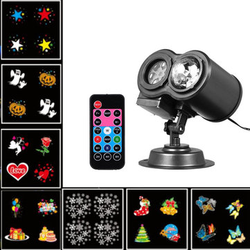 7W 12 Patterns RGBW LED Remote Christmas Water Wave Moving Laser Projector Stage Light AC110-240V