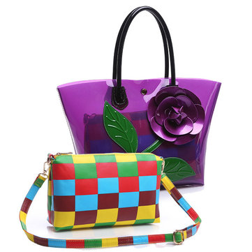 2 Pcs Women Flower Design Tote Bags Transparent Shoulder Bags Elegant Party Bags