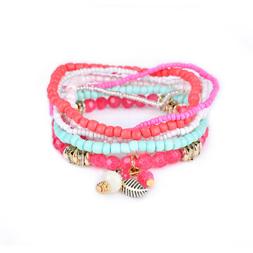 Bohemian Pine Cone Leaf Pendant Beads Multilayer Bracelet Jewelry for Women