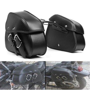 Motorcycle PU Leather Saddlebags Waterproof Saddle Swing Arm Bag Left Right