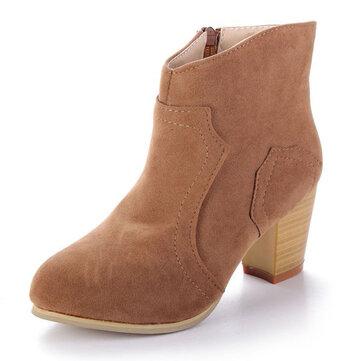 Женщины искусственные замша ботинки лодыжки молния середине блока пятки короткие ботинки
