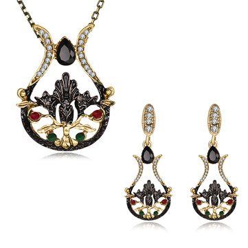 Vintage Women Statement Zirconia Jewelry Set Elegant Multicolor Jewelry Gift
