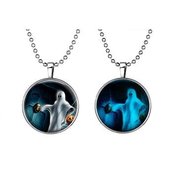 Halloween Jewelry Glowing Black Animal Magic Pendant Stainless Steel Chain Necklace
