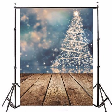 5x7FT Vinyl Photography Background Merry Christmas Tree Theme Wooden floor Backdrop for Photo Studio