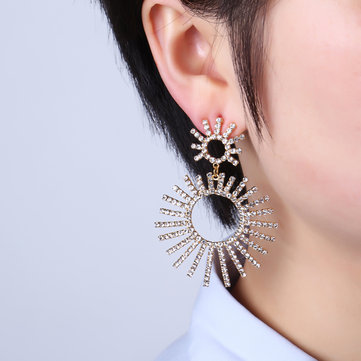Luxury Gold Plated Full Rhinestones Shiny Sun Tassel Big Earring Trendy Dangle Earrings