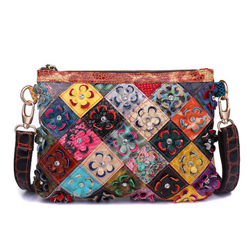 Women Genuine Leather Flower Decorational Patchwork Shoulder Bag Designer Crosbsody Bag