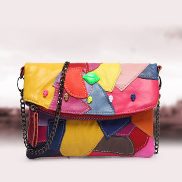 Women Genuine Leather Patchwork Stitching Crossbody Bags