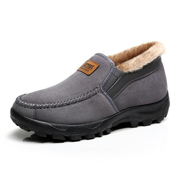 Snow Boots Winter Men Fur Lining Cotton Keep Warm Casual Outdoor Flats