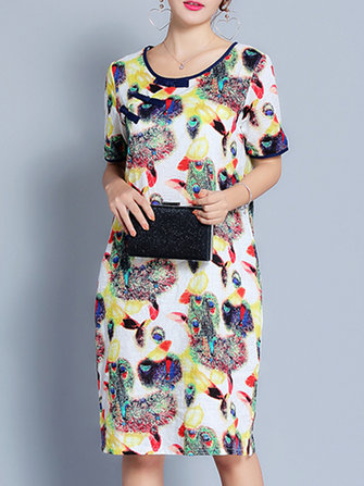 Women Casual Floral Print Round Neck Dresses Half Sleeve Midi Dress